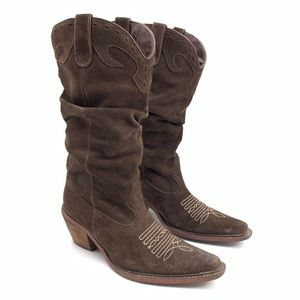 Steve Madden Brown Suede Slouchy Western Boots 6
